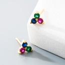 fashion korean microinlaid color zircon geometric earrings NHLN347488