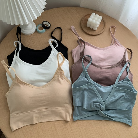 Solid color sling gathered beauty back vest  NHZN347480's discount tags