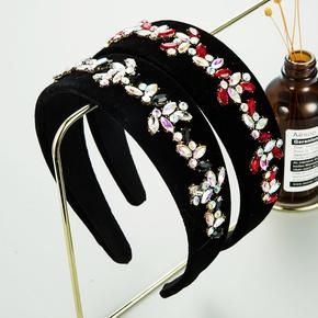 Mode Blume neuen Stil Strass Gold Samt Stirnband NHLN347472