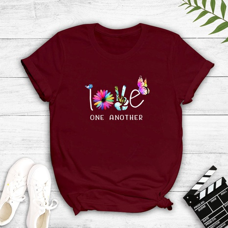 kreatives Muster Briefdruck kurzärmelige lässige T-Shirt NHZN347464's discount tags