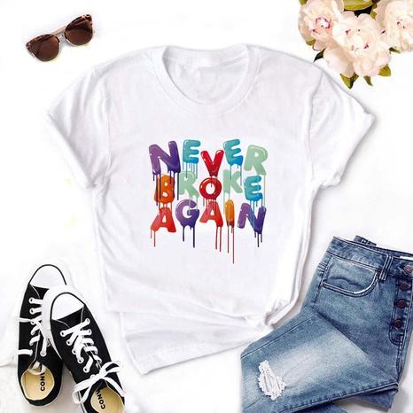 Fashion Round Neck Letter Printing Kurzärmliges T-Shirt NHZN347462's discount tags