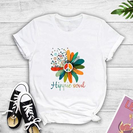 Kreatives lässiges Kurzarm-T-Shirt mit Blumendruck NHZN347457's discount tags