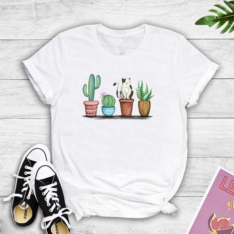 Cartoon Katze Topf gedruckt kurzärmeligen T-Shirt NHZN347455's discount tags
