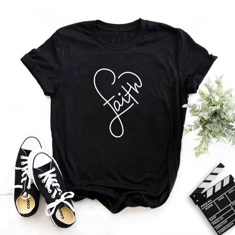 Kurzes T-Shirt mit kreativem Buchstabenmuster und Herzmuster NHZN347452's discount tags