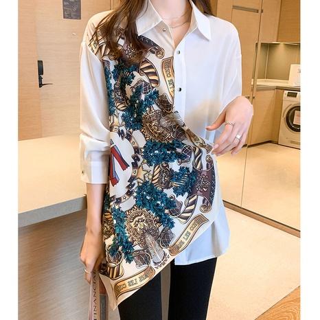 Bedrucktes unregelmäßiges Langarmhemd mit Schneiderei NHKO347439's discount tags