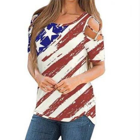 Sexy schulterfreies Kurzarm-T-Shirt mit Rundhalsausdruck NHIS347437's discount tags