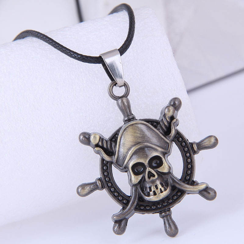 fashion new style simple skull wax rope necklace NHSC359533