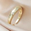 fashion geometric zircon star golden open ring NHMO359450