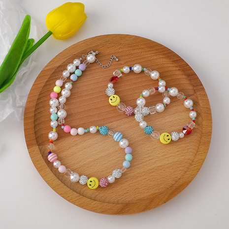 Mode Perlen Smiley Face Perlen Kristall Armband Halskette Set NHMS359468's discount tags