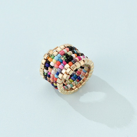 Bohemian color beads multi-layer integrated ring  NHLP359571's discount tags