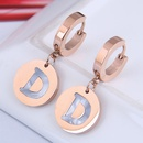 Korean fashion round D letter earrings  NHSC360430