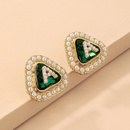 Retro Crystal Pearl Letter Triangle Square Earrings  NHNJ359710