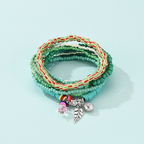 Bohemian Multilayer Alloy Leaf Color Bead Pendant Bracelet NHLP359727's discount tags