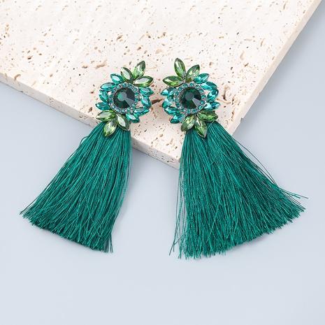 bohemian style alloy diamond rhinestone flower long tassel earrings  NHJE359862's discount tags