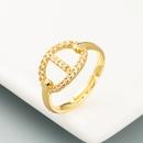 fashion geometric letter copper microinlaid zircon ring  NHLN359866