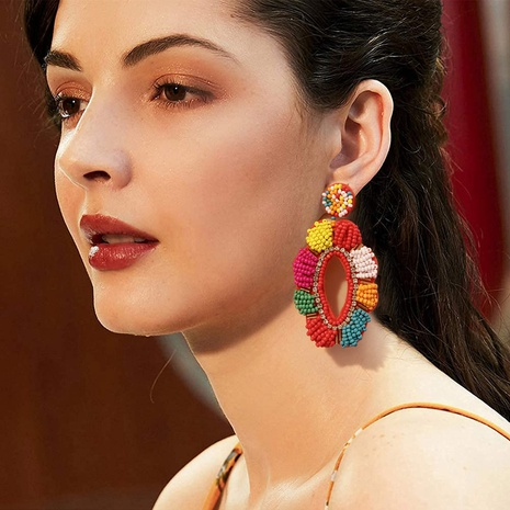 creative ethnic style color geometric cloth rice bead earrings NHJQ359893's discount tags