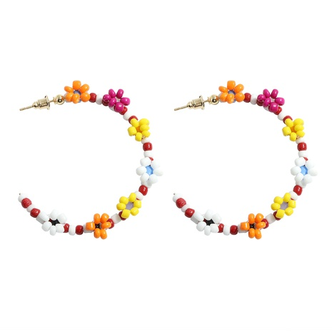 Exaggerated C-shaped alloy rice bead flower contrast big earrings  NHJQ359895's discount tags