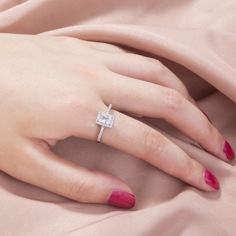 fashion square micro-inlaid zircon ring wholesale  NHAN359934's discount tags