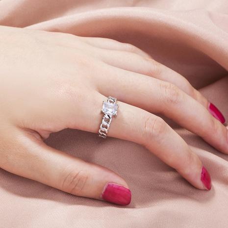 fashion adjustable rectangular zircon chain ring NHAN359935's discount tags