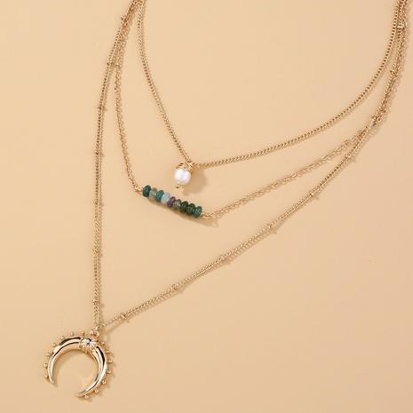 Mehrschichtige Retro-Halskette aus grünem Naturstein NHAN359947's discount tags