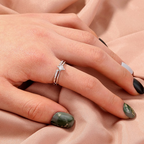 fashion copper inlaid zircon sky star adjustable ring wholesale  NHAN359956's discount tags