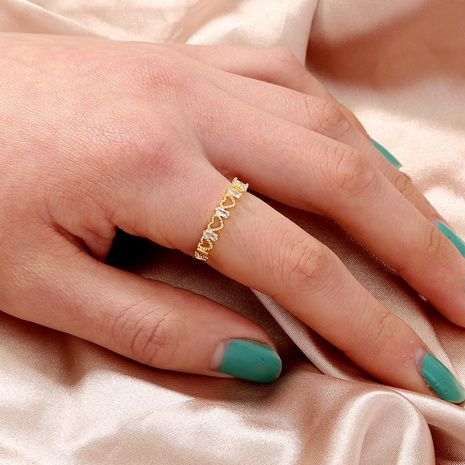 fashion diamond-studded zircon heart hollow opening adjustable ring NHAN359966's discount tags