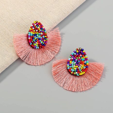 exaggerated bohemian tassel color rice bead fan-shaped earrings  NHAN359968's discount tags