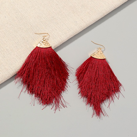 Bohemian style wine red fish mouth long tassel earrings  NHAN359969's discount tags