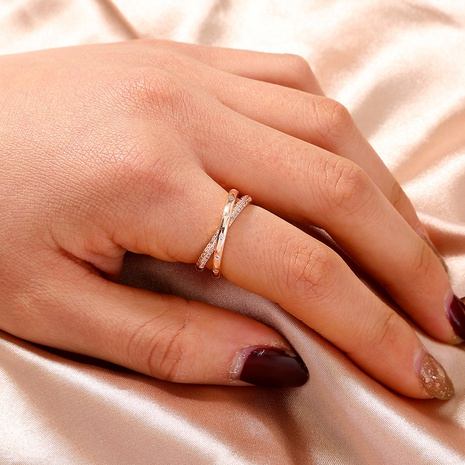 fashion zircon micro-inlaid cross rose gold ring  NHAN359978's discount tags