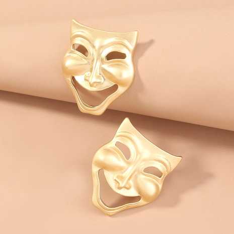 retro abstract clown smiley mask metal hollow earrings NHAN359980's discount tags