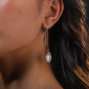 Korean style simple long golden natural freshwater pearl earrings  NHAN360001