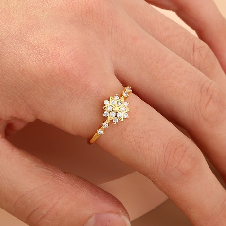 fashion copper inlaid zircon snowflake ring wholesale  NHAN360012's discount tags