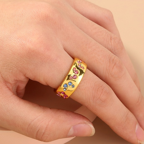 fashion mixed color copper inlaid zircon butterfly ring NHAN360011's discount tags