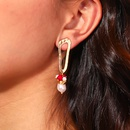 fashion dumb gold natural freshwater pearl coral earrings  NHAN360020
