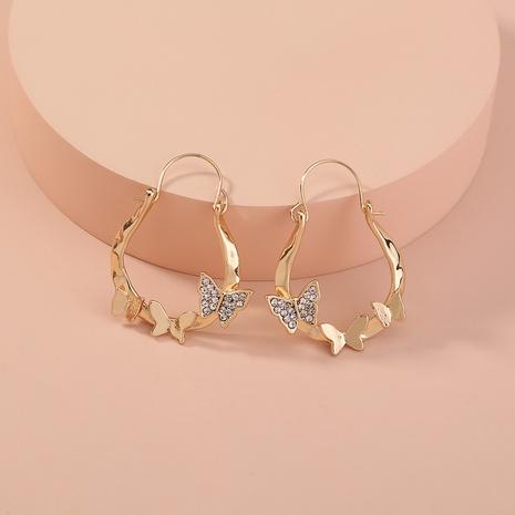 Korean style U-shaped butterfly diamond earrings  NHAN360030's discount tags