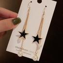 Korean Fivepointed Star Pearl Tassel Long Earrings  NHWB360038