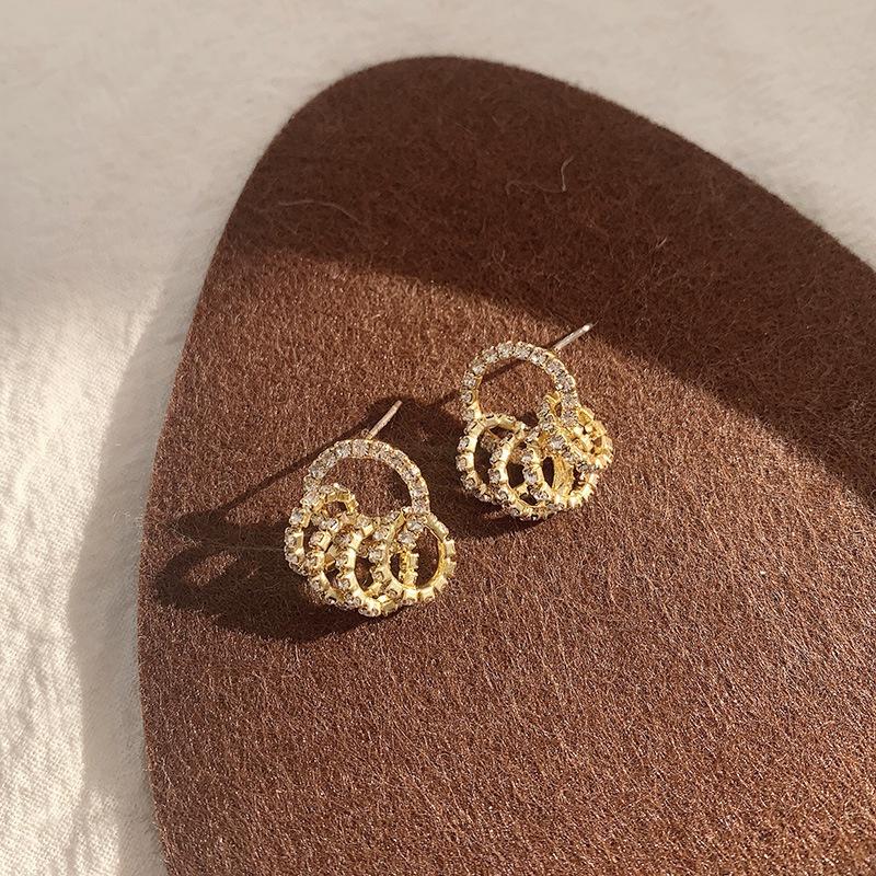 Korean full diamond zircon circle earrings wholesale  NHWB360058
