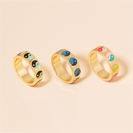 retro Tai Chi contrast color dripping oil ring NHAI360252's discount tags