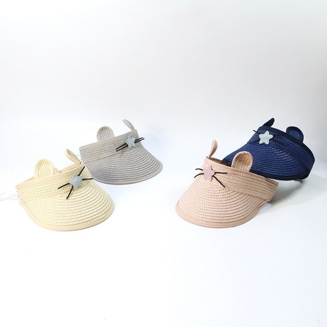 Korean style cute cat empty top children straw hat NHTQ365088's discount tags