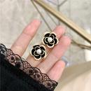 retro black oil drop pearl camellia earrings NHBQ365411