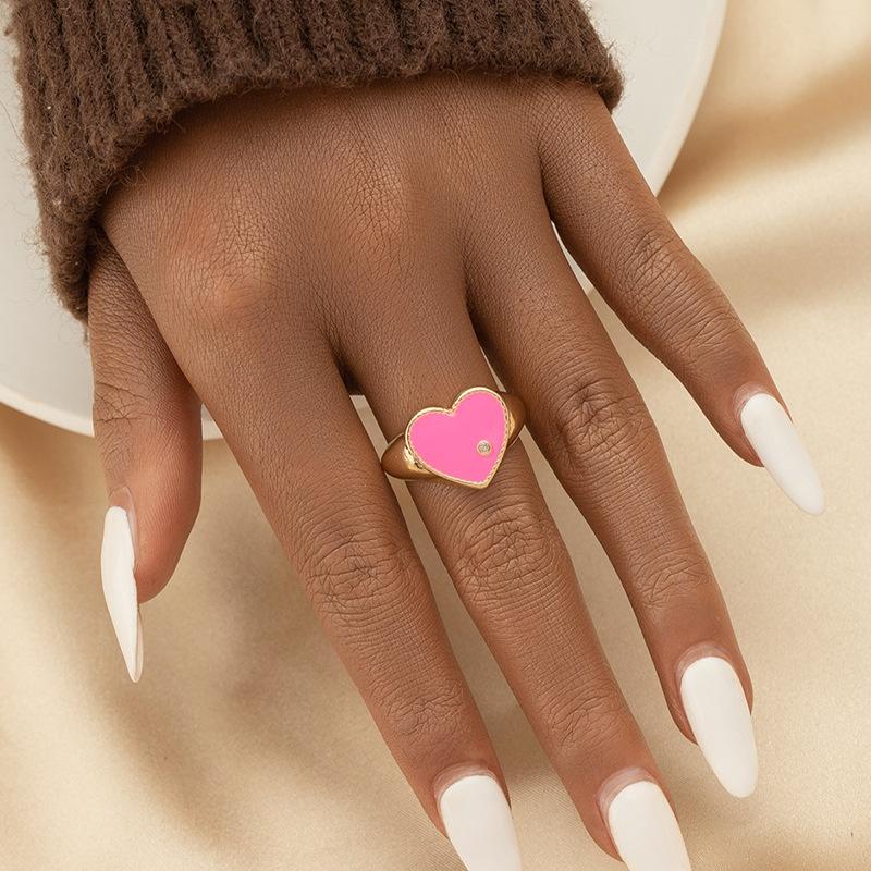 fashion dripping heart shape ring  NHGU365475