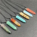 Ethnic Faceted Crystal Agate Hexagonal Cone Pendant Necklace NHJIC365551