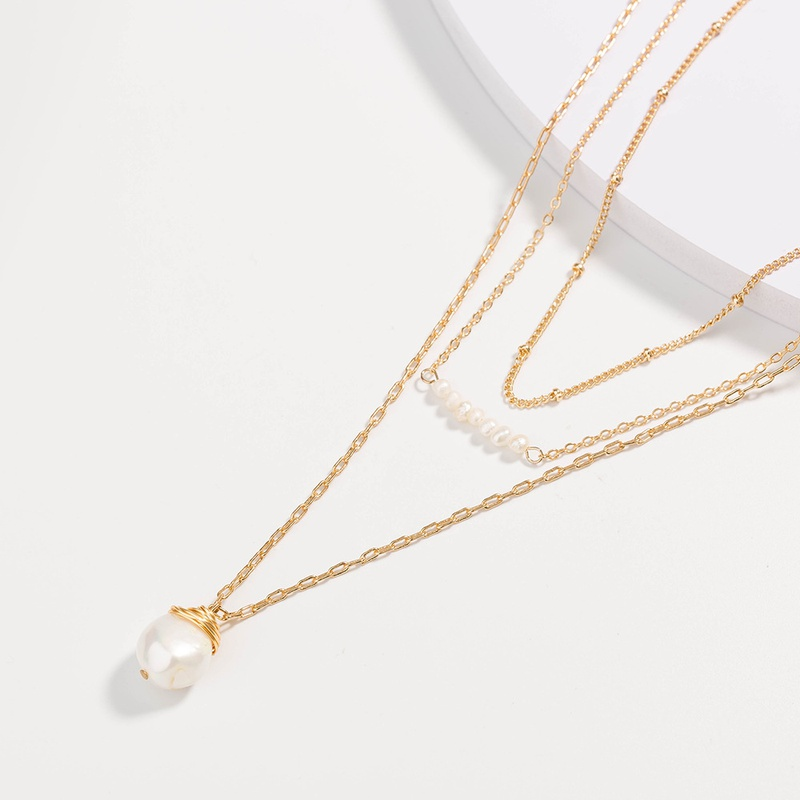 Fashion Freshwater Pearl Pendant Multilayer Necklace NHAN365658
