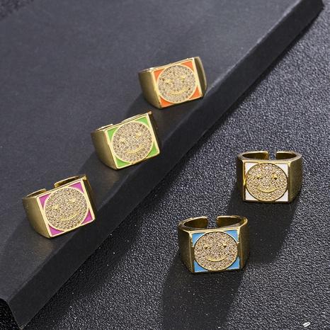 Retro zircon emoji smiley face open ring NHXIN365713's discount tags