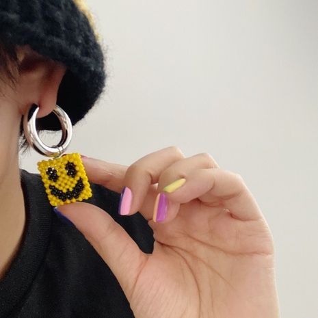 fashion yellow handmade bead string smile face single earring  NHANR365738's discount tags