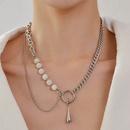 Fashion Teardrop Opal Pendant Titanium Steel Double Necklace  NHANR365744