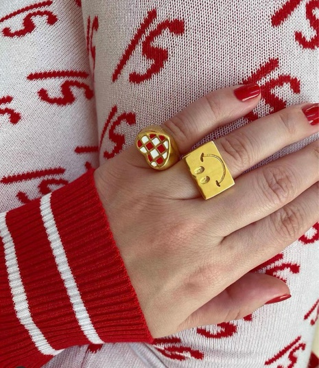 Heart Love Plaid Smiley Open Ring NHANR365761's discount tags