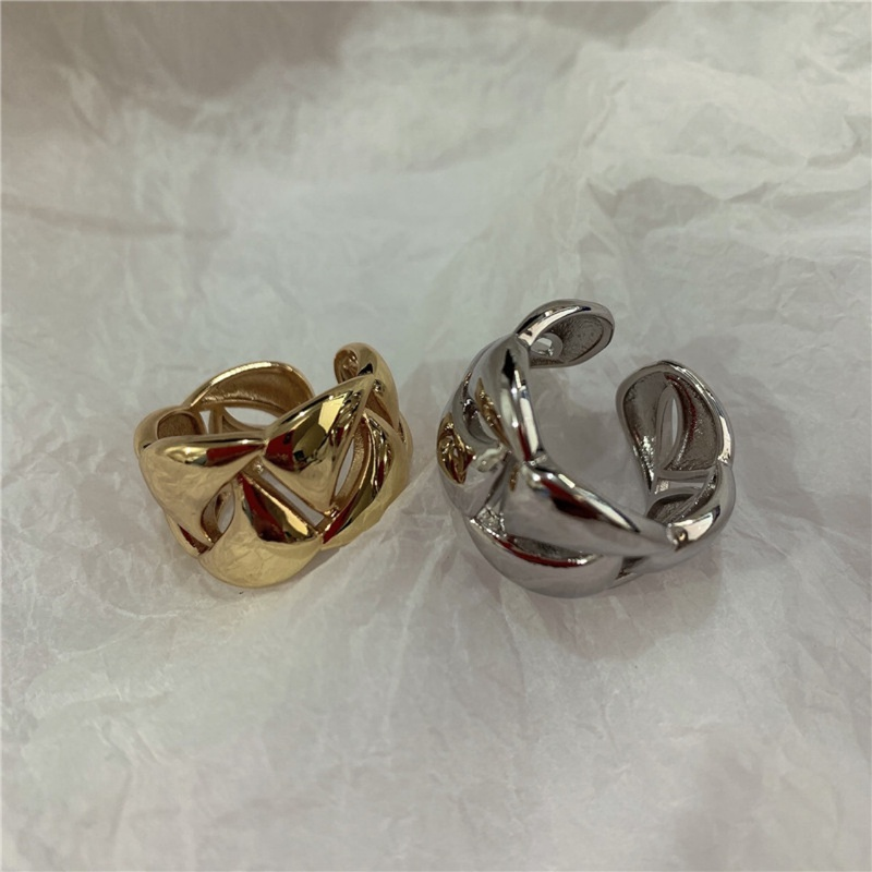 retrothick gold colorpreserving metal braided ring  NHANR365763