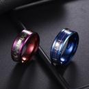 Fashion blueplated carbon fiber couples ECG titanium steel ring  NHSOM365794