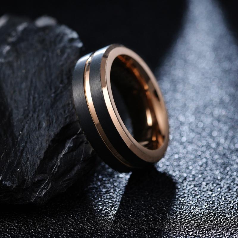 Fashion rose gold black tungsten steel ring  NHSOM365808